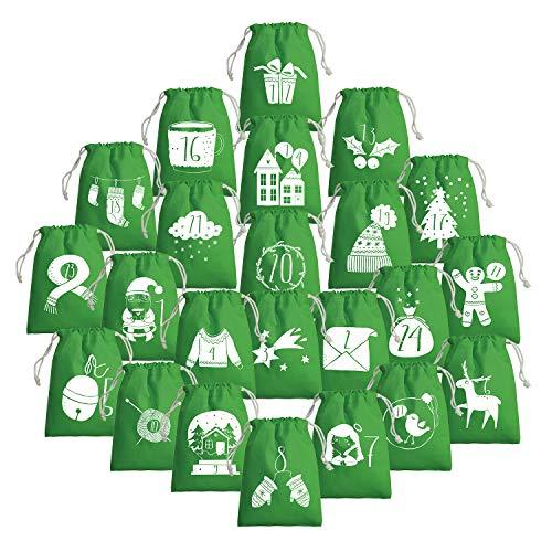 Weihnachtskalender Adventskalender zum selbst befüllen - Baumwollsäckchen mit aufgedruckten Weihnachtsmotiven (Grün, 15x20cm)