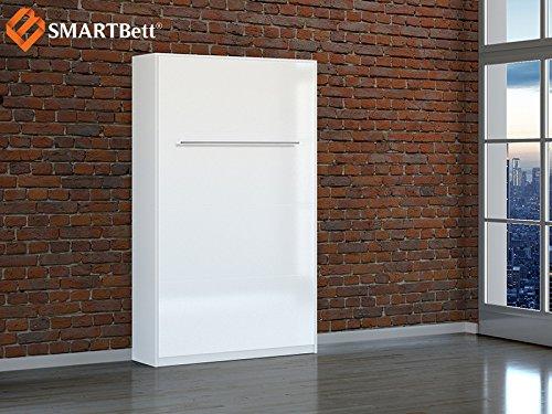 Smartbett Schrankbett Hochkantbett Murphy Bed Foldaway bed 120 x200cm Vertikal in der Farbe Weiß mit Hochglanzfront