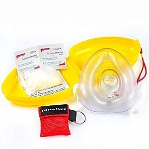 LinkHealth CPR Maske Schlüsselanhänger Ring Emergency Kit Rescue Face Shields mit Einweg-Ventil Atem Barriere für Erste Hilfe oder AED Training (1)
