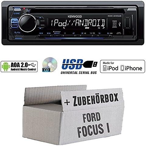 Ford Focus 1 - Kenwood KDC-200UB - CD/MP3/USB iPod/Android-Steuerung Autoradio - Einbauset
