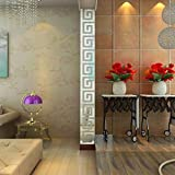 Vovotrade 48*48mm 10pcs DIY Modern Acrylic Plastic Mirror Sticker Ar-hall Bedroom Home Decals Decor (Silver)