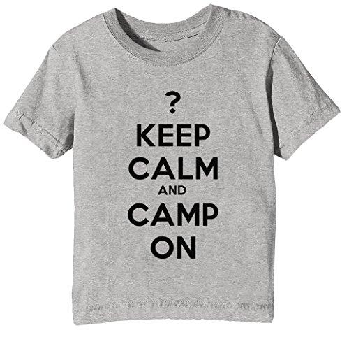 Keep Calm and Camp On Kinder Unisex Jungen Mädchen T-Shirt Rundhals Grau Kurzarm Größe XL Kids Boys Girls Grey X-Large Size XL