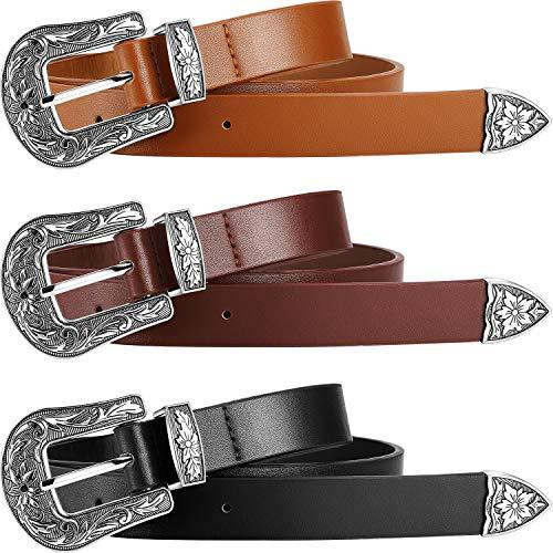 3 Piezas Cinturones Occidental Vintage Cinturón de Cuero Artificial para Mujer Jeans, Pantalones