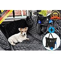 PREMIUM Auto Hundedecke inkl. Transporttasche, faltbaren Napf und Flasche, Wasserdichte Schondecke mit Gurtdurchlass und Seitentaschen, Universal passend für PKW Auto VAN SUV, inkl. Sicherheitsgurt