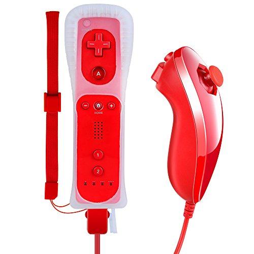 Pekyok Wii Controller und Nunchuk, DW12 Nintendo Wii Remote und Nunchuck mit Silikonhülle und Handschlaufe für Wii und Wii U-Rot