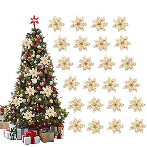 Nahuaa 24 pz fiori albero di natale ornamenti oro fiori di natale artificiali glitterati fiori finti natalizi addobbi per natale albero feste matrimonio ghirlande decorazioni