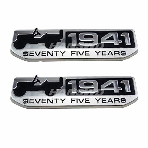 Anzene 75 Año 1941 aniversario Metal emblema placa para CHEROKEE de SUV Patriot brújula 2 pcs (Silver)