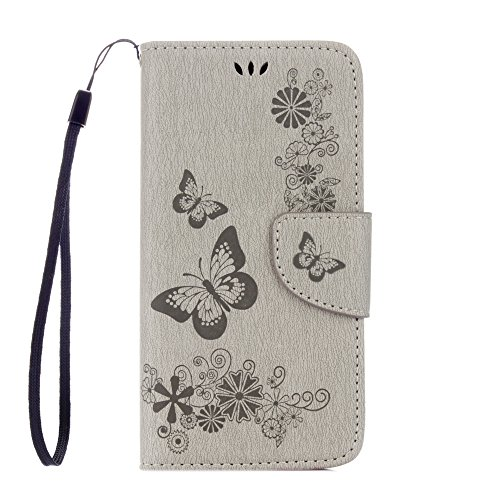Cover per iPhone X Custodia, ZCRO Portafoglio Cover in Cuoio PU Pelle Stand Protettiva Flip Case a Libro Farfalle Fiori Modello con Magnetica Strap e Penna Stilo Copertina Custodia per iPhone X 5.8 Po Design 2 Grigio