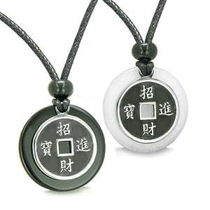 Amulette Porte Bonheur amour Couple pièces Agate Noir, Blanc Quartz Medallions Yin Yang Pendentif-colliers