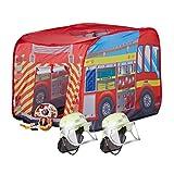 Relaxdays 3 tlg. Feuerwehr Set, Spielzelt Feuerwehr, 2X Feuerwehrhelm Kinder, Kinderzelt für Drinnen & Draußen, ab 3, Mehrfarbig Test