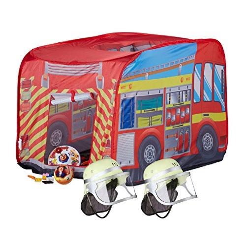 Relaxdays 3 tlg. Feuerwehr Set, Spielzelt Feuerwehr, 2X Feuerwehrhelm Kinder, Kinderzelt für Drinnen & Draußen, ab 3, Mehrfarbig