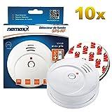 10x Detector de Humo Nemaxx SP5-NF Blanco - Detector de Humo Sensible tecnología fotoeléctrica de Acuerdo con DIN EN 14604 con Certificado NF + 10x Fi