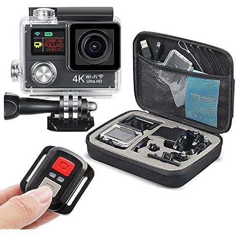 """PPLEE - Videocamera sportiva da 12 MP con connettività Wi-Fi, con obiettivo grandangolare a 170°, con schermo LCD da 2"""" (5 cm) e schermo OLED da 0,95"""" (2,41 cm), entrambi con definizione Ultra HD 4K, con telecomando wireless Bluetooth a 2,4 GHz incluso, colore: nero"""