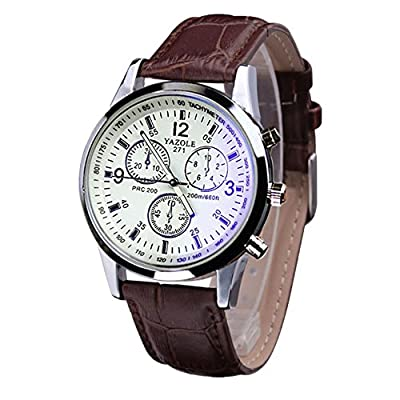 Toamen Luxury Fashion Faux Leather Mens Ray Glass Quartz Analog Watches : everything 5 pounds (or less!)