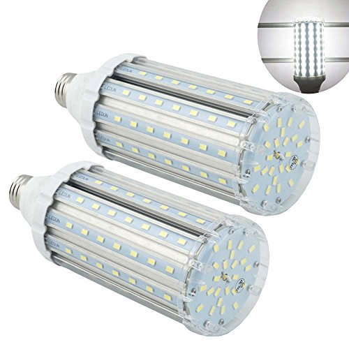 LuxVista 2-pack 35W E27 LED Corn Light 6000K Cool White 3500 Lumens Repalce Conventional Light 200 Watt CFL EquivalentCorn Lamp for Yard/Hotel/Restaurant/Post Top Lighting