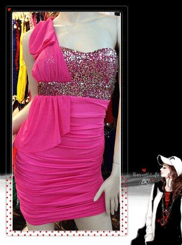 QIYUN.Z Bling Pailletten Rüschen über Knie- One-Shoulder- Kleid bowknot Clubwear Damen Kleider Size M stieg