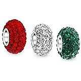 Die besten Bling Schmuck Großmutter Charms - Bling Jewelry Swarovski Kristall Silber Weihnachten Farbe Wulst Bewertungen