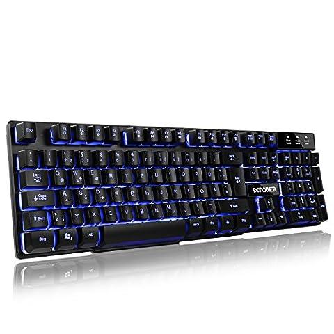 3 Farben Beleuchtung Gaming Tastatur, LED Hinterleuchtet USB Verdrahtete Spiel-Tastaturen Schwarz - DE Layout
