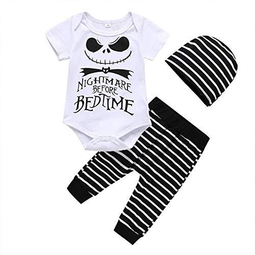 10 Kostüm Beliebtesten - Taoytou 3-teiliges Set für Babys, Halloween-Print, Oberteil + Hose, Mütze, Kleidungsset für Baby-Kostüm Gr. 9-12 Monate, weiß