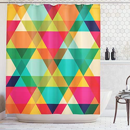 ABAKUHAUS Duschvorhang, Abstraktes Geometrisches Muster Weinlese Inspirierte Retro Farben Alte Art Grafik Art Druck, Blickdicht aus Stoff inkl. 12 Ringe für Das Badezimmer Waschbar, 175 X 200 cm - Grafik Alter Druck