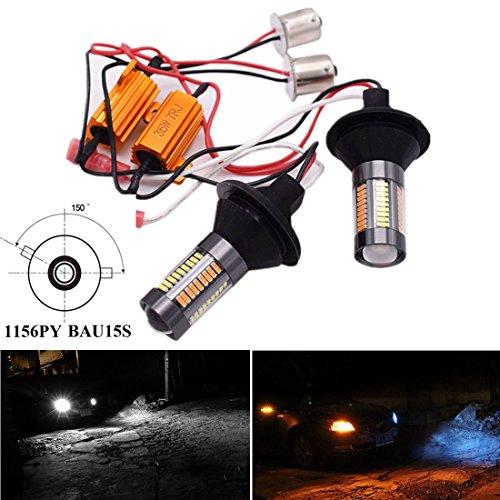 Preisvergleich Produktbild FEZZ Auto Tagfahrlicht Blinkerleuchten LED Birnen 4014 66SMD 1156 BAU15S 150 ° Switch LED Birnen 1000 Lumen DRL mit Canbus Decoder Adapter Weiß und Gelb (2 Stücke)