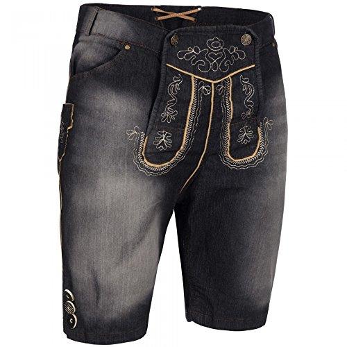 PAULGOS Herren Trachten Jeans in Optik Trachten Lederhose Kurz in 3 Farben Gr. 44-60, Farbe:Schwarz, Größe Lederhose:48