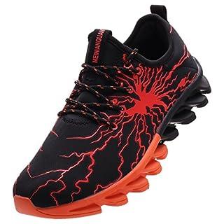BRONAX Herren Sportschuhe Schnürschuhe Atmungsaktiv Moderne Freizeit Sneaker Schuhe Outdoor Laufschuhe Low-Top Bequeme Turnschuhe Gymnastikschuhe Männer Jungen Orange Schwarz 42 EU (43 Asien)