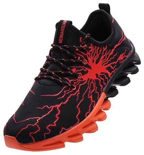 BRONAX Herren Sportschuhe Schnürschuhe Atmungsaktiv Moderne Freizeit Sneaker Schuhe Outdoor Laufschuhe Low-Top Bequeme Turnschuhe Gymnastikschuhe Männer Jungen Orange Schwarz 43 EU (44 Asien)