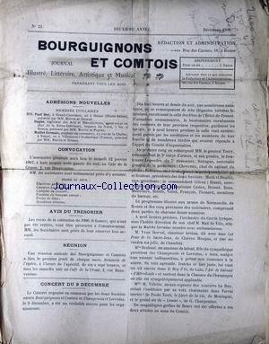BOURGUIGNONS ET COMTOIS [No 23] du 01/12/1906 - ADHESIONS NOUVELLES - MM. PAUL BOY - DAGAN - MAILLET GERMAIN - CONCERT - MM. LE GENERAL TORCY - LE LIEUTENANT LEGENDRE - SURUGUE - CHEVREUX - BRABANT - MOCH - BOULLIE - GILSNO - RIMET - CASTEX - BRISSET - BEAU - MAUVEAUX - BRIATH - VALLET - .FRANCOIS - THENARD - MAX DE VILO - DORVAL - VILLETTE.