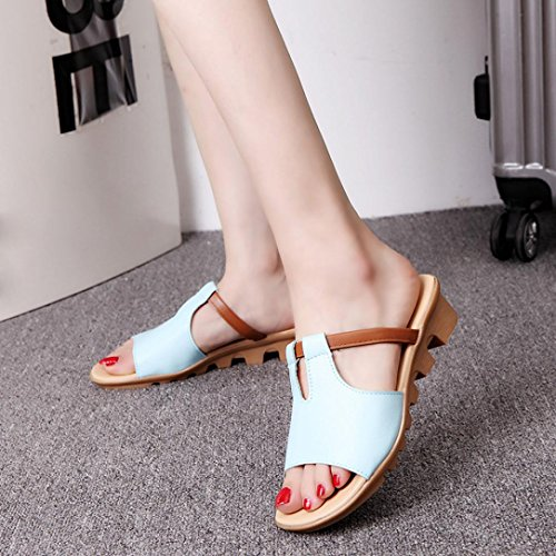 Femmes Wedges Sandales Tongs ,OverDose Casual Fashion Solid Beach Slide Slippers Basic Shoes Bleu