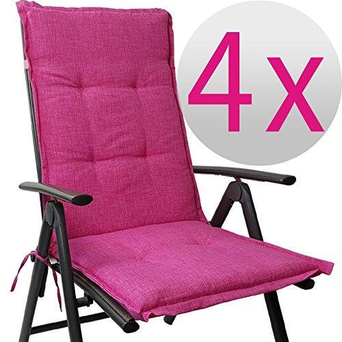Hochlehner Auflage Outdoor günstiges Sparset 118 x 50 x 5,5 cm Schmutz- und wasserabweisendes Sitzkissen & Rückenkissen gepolsterte Gartenstuhlauflage mit Gummiband, Farbe:Pink, Menge:4er Set
