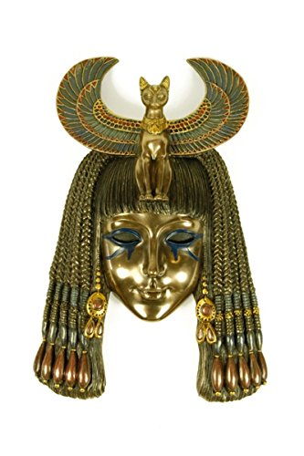 Egyptian Decorative Wall Mask 'Goddess Bastet' Resin Figures. 16,5 x 24,5 x 6 cm.