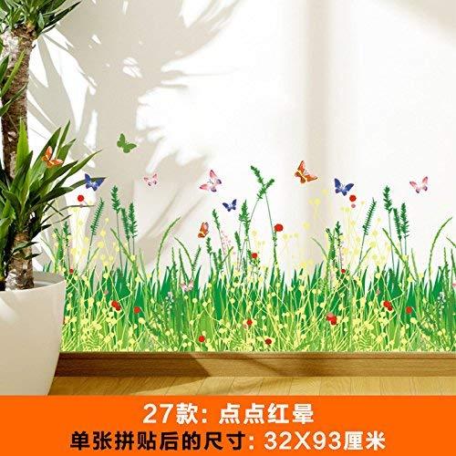 Hintergrund, Rote Umrandung (Wall Stick Selbstklebende Hintergrund-Wand, Wand-Blumen-Garten-Zaun-Umrandungs-Linie Selbstklebende Aufkleber-Schmetterlings-Tapeten-Dekorationen, Rot-Punkt-Korona, dekorative Wasserdichte Aufkleber)
