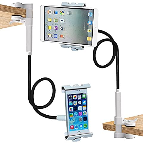 Trellonics Gooseneck Tablet Holder Mount Clamp Stand-360 Degree Rotation Adjustable Hands-free Universal Bracket Cradle Fits all iPads Samsung Kindles Many Others and All Phones inc iPhone