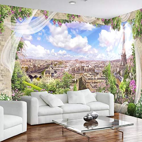 VVNASD 3D Wandbilder Wand Aufkleber Tapete Dekorationen Fenster Paris Eiffelturm Stadt Landschaftswohnzimmer Hintergrund Dekor Kunst Kunst Mädchen Schlafzimmer (W) 400X(H) 280Cm