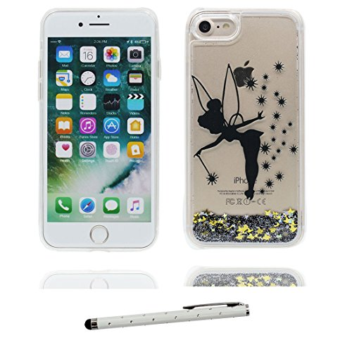 "iPhone 7 Plus Coque, iPhone 7 Plus étui Cover 5.5"", Lily Bling Bling Glitter Fluide Liquide Sparkles Sables, iPhone 7 Plus Case, Shell -anti-chocs - Lis et stylet fée"