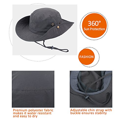 ae84cc5383e Anyoo Outdoor Boonie Hat Breathable Wide Brim Summer Sun Cap UV Protection  Fishing Camouflage Hat for ...