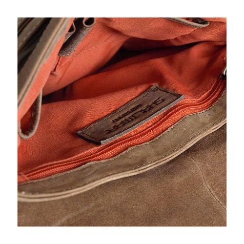 piatta per Messenger Bag/Borsa a tracolla in pelle di Buffalo oliato. Modello: Mitchell, (Isabella naturale), oben 26x32x3 unten 29x32 x3 Isabella naturale