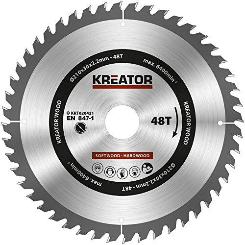 KRT020421 Hartmetall Kreissägeblatt für Holz Ø210mm Bohrung 30mm Dicke 2,2mm Zähne 48