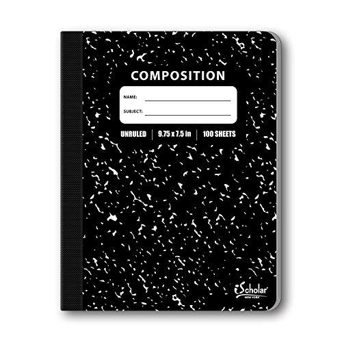 ischolar Zusammensetzung Buch, 100Blatt, Unlinierte, 100Blatt, 9,75x 7.5-inches, Bezug Marmor schwarz (13100)