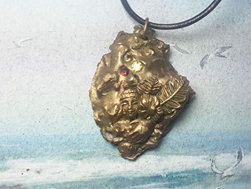 Unisex-Anhänger, esoterisches Schmuck, Goldbronze Meteorit+Gesicht des Buddha, Blumen & 3 rot, limonengrün & gelb CZirkonia, Lederband, für Männer und Frauen, Herren und Damen (Asiatisch Gesicht Produkte)