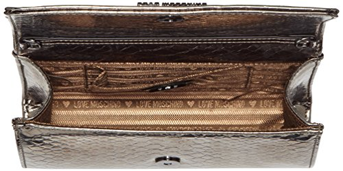 Love Moschino Damen Clutch, 6x13x23 cm Silber (Gun)
