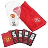 Manchester United FC Official Wordmark Mini Football Bar Set (Pint Glass, Towel & Beer Mats)