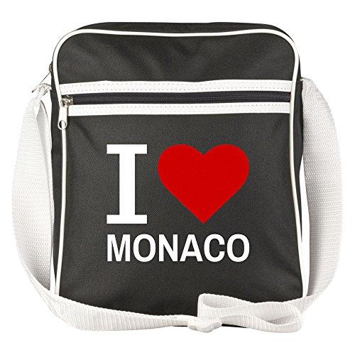Schultertasche Classic I Love Monaco schwarz - Lustig Witzig Sprüche Party Tasche