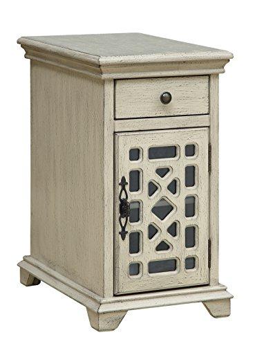 Treasure Trove Accents Schatzkammer Akzente Schublade eine Tür chairside Schrank, Holz, Textur Elfenbeinfarben -