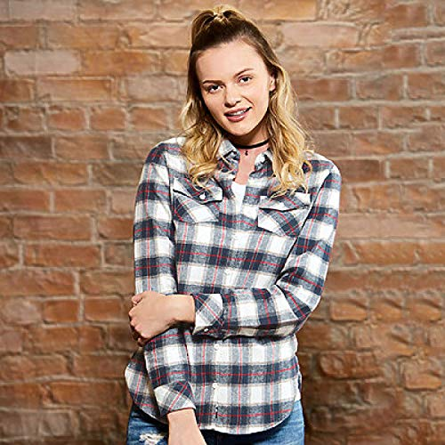 Burnside Women`s Woven Plaid Flannel Shirt, Größe:S, Farbe:Khaki Check -
