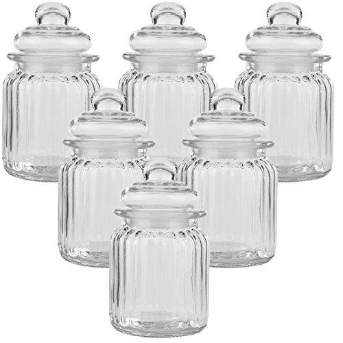 6er Set Luftdichte Vorratsdosen mit deckel Bonbonglas aus Glas Vorratsglas Bonboniere Vorratsbehäter Aufbewahrung 300ml - 13cm x 8cm x 8cm Candy Glas