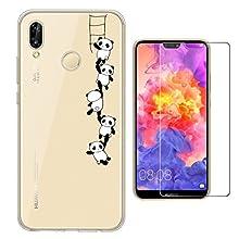Yoowei Cover Huawei P20 Lite Trasparente + [Pellicola Protettiva in Vetro Temperato], Custodia Huawei P20 Lite Divertente Motivo Design Ultra Sottile Molle di TPU Cover per P20 Lite - Pandas