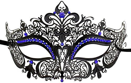 Coofit Metall Lasergeschnittene wcrystals auf Augen Masquerade Ball Maske Prinzessin Venedig Fancy Ball Kleid (Masquerade Kleid Schwarz Mit Blau)
