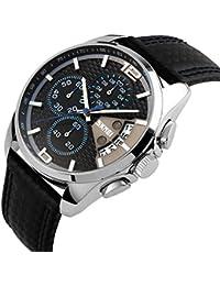iwatch Bracelet Homme Montre 30M étanche bande de cuir à quartz analogique Calendrier Montre de sport Chronomètre avec bleu Gauge aiguille de